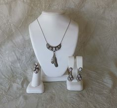Vintage Navajo Signed Sterling Mother of Pearl  Feather Ring Necklace Earrings