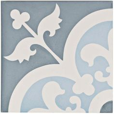 Merola Tile Cemento Empress Ocean 7-7/8 in. x 7-7/8 in. Cement Handmade Floor and Wall Tile, Ocean Blue/Slate Blue And White/Low Sheen