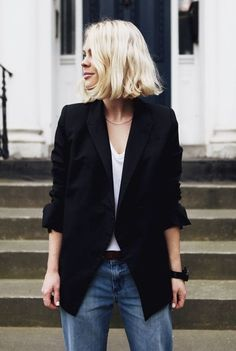 Street Style: Simple and stylish - Hubub Maxi Blazer, Blazer Outfit, Blazer Jeans, Looks Style, Looks Cool, Style Me, Girl Style, Power Dressing, Look Fashion