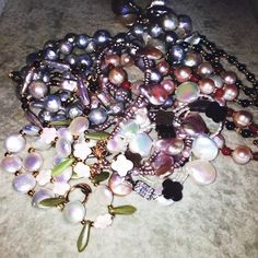 # Shining pearls # All of them are natural pearls . Design by friend
