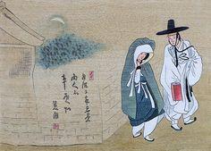 월하정인도 - 신윤복  그림에 적혀있는 한시는 '달은 기울어 밤 깊은 삼경인데 두 사람의 마음은 두 사람이 안다.'는 뜻입니다. Modern Pictures, Comic Pictures, Korean Picture, Asian Artwork, Korean Painting, T Art, Asian History, Korean Traditional, Korean Artist