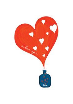 Une petite bouteille d'amour Art Print - Rouge & Marine - Valentin Pop Art anniversaire anniversaire de mariage cadeau enfants Children Home...
