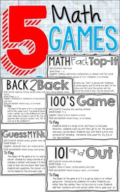 5 Math Games Every Classroom Needs to Play - Freebie and blog post with details about how to play each game