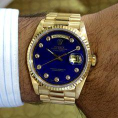 Rolex Day-Date 18238 Presidential Lapis Diamond Double Quick Set Watch