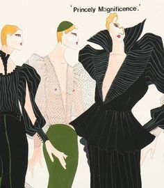 2- Description :  A John Galliano original fashion sketch, 'Princely Magnificence', circa 1982, un-signed, worked in green and black gouache, over-sketched in pencil, 30 by 41cm, 12 by 16in