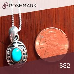 .925 Sterling and turquoise necklace Oval turquoise oxidized scroll design necklace on box chain Jewelry Necklaces