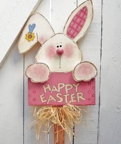 Happy Easter Bunny Yard Sign Wood Bunny Rabbit Yard Stake Outdoor Painted Wood Lawn Decoration Yard Stick Easter Sign Tole Bunny Spring Pink - Happy Easter Bunny Yard Sign, Size Bunny/Sign 14 x 11 inches, Total Height 36 inches ~ Wish eve - Crafts For Teens To Make, Diy And Crafts, Wood Crafts, Easter Projects, Easter Crafts, Easter Ideas, Spring Crafts, Holiday Crafts, Happy Easter Bunny