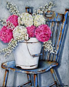 Art by Stella Bruwer white enamel bucket with large round pink and white flowers on shabby blue chair Art Floral, Art Projects, Projects To Try, Posters Vintage, Creation Photo, South African Artists, Decoupage Paper, Jolie Photo, Vintage Diy