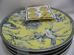 "222 Fifth Adelaide Yellow Porcelain Set of 4 Round Dessert Appetizer Plates 6.5"" #222Fifth"