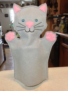 An adult-sized, felt kitty cat puppet--made in the hoop, on my embroidery machine.for Alice. Puppet Making, Gifts For Family, Puppets, Machine Embroidery, Hoop, Alice, Felt, Kitty, Kids Rugs