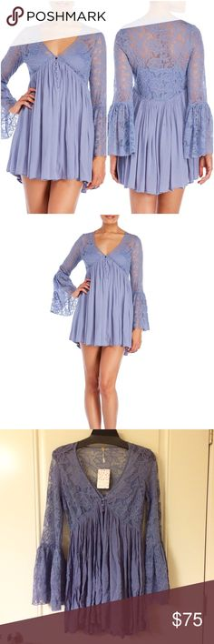 Blue Love from India Button Up Lace Dress New with tags! Periwinkle blue. Beautiful lace! Bell sleeves. It has a detachable slip dress inside with adjustable straps. Button-up front. NO TRADES!! 🚫🚫🚫 Free People Dresses