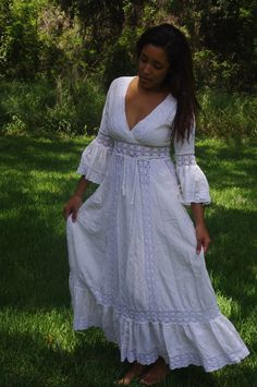 Vintage 60's-70's hippie boho muslin and crochet wedding dress. $200.00