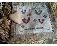 """A&B64 """"4 poulettes dans un jardin"""" Ems, Creations, Bergamot Orange, Hens, Fantasy"""
