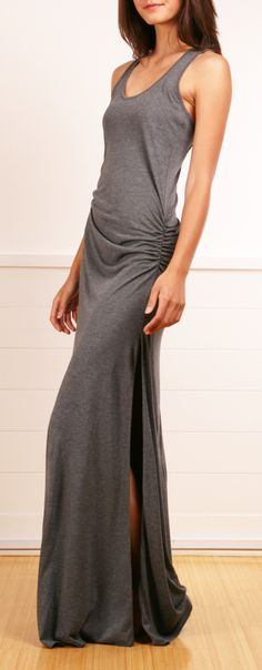 Racer Back~ With scrunching starting under the breasts and running down to hip level. High side slits, floor length.