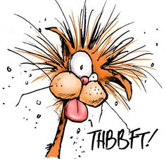 The incomparable Berkeley Breathed and Bill the Cat from 'Bloom County'. Not Garfield at all. Not even slightly.