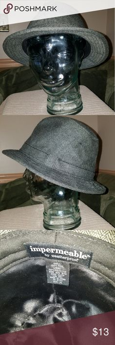 Impermeable Fedora Hat by Waterproof - Size XL What a GREAT Fedora hat.  Dark gray 100% wool tweed in like new condition. Super classy.  Check out my other items. No trades, but I will bundle and will entertain reasonable offers. Impermeable by waterproof Accessories Hats