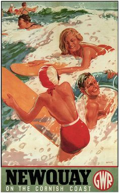 Newquay on the Cornish Coast.Vintage Surf GWR Railway Travel Poster Print showing surfing in England Posters Uk, Train Posters, Railway Posters, Cool Posters, Retro Poster, Poster Ads, Advertising Poster, Poster Prints, British Seaside