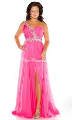 one shoulder beaded pink long side slit plus size prom dress