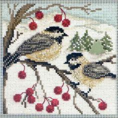 Stitched area of Chickadees Cross Stitch Kit Mill Hill 2013 - $10.99