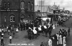 Australia Day Parade Image supplied from Bowral Historical Society. Aboriginal History, Australian Flags, Australia Day, Historical Society, South Wales, Postcards, Vietnam, Past, Street View