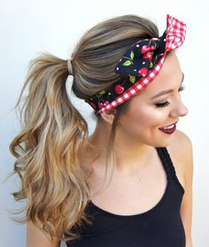 Rockabilly Pin Up Haarband Kopftuch Headband Vintage 50/'s Pink mit Draht