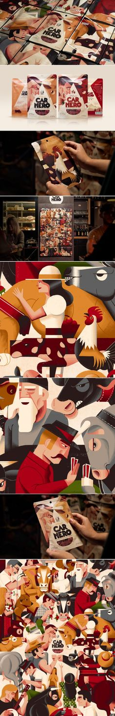 Carnero's Illustrations Beef-Up Their Glorious Packaging Packaging Design Inspiration, Graphic Design Inspiration, Food Inspiration, Pouch Packaging, Food Packaging, Creative Studio, Creative Director, The Golden Years, Creativity And Innovation