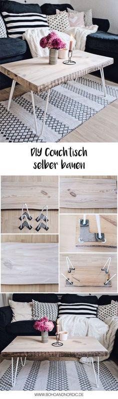 DIY Couchtisch selber bauen #diy #möbel #couchtisch #tisch #holz #hairpinlegs #wohnen #deko