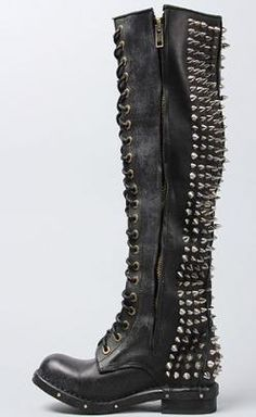Heavy metal combat boots: Jeffrey Campbell Boot Studded Lace Up in Black with studs and spikes Heeled Boots, Bootie Boots, Shoe Boots, Shoes Heels, Jeffrey Campbell, Pumps, Stilettos, Dark Fashion, Fashion Shoes