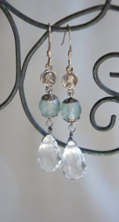 Assemblage jewelry earrings large crystal by frenchfeatherdesigns