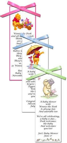 winnie the pooh baby shower   Deluxe Winnie the Pooh Bookmarks - Personalized