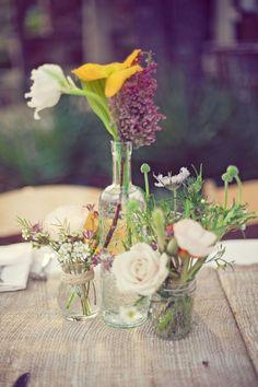 simple flowers, recycled wine bottle, mason jar for jam