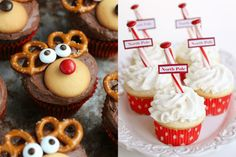 10 Fun Kid Approved Christmas Cupcake Ideas-What better way to spend time with your kids this holiday season than decorating Christmas Christmas Cupcakes Decoration, Holiday Cupcakes, Christmas Desserts, Christmas Baking, Holiday Treats, Holiday Recipes, Holiday Foods, Holiday Baking, Christmas Recipes