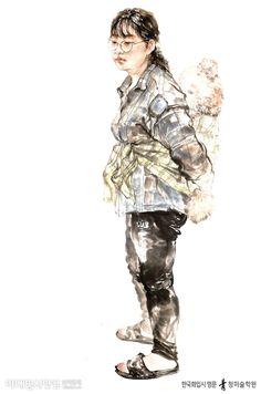 [한국화] 인물화 학생 평소작 - 인물화! 정확한 동세의 관찰과 표현이 무엇보다 중요합니다! - 홍대 청 한국화학원 #홍대미술학원 #홍대앞미술학원 #홍대한국화학원 #홍대청한국화 #청한국화 #한국화 #미술 #미대입시닷컴 #art #design #orientalpainting #illust #illustration #drawing #painting #paint Oriental, Korean Painting, Figure Drawing, Study, Drawings, People, Projects, Fictional Characters, Design
