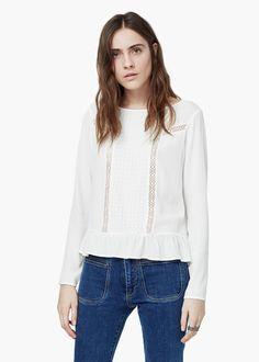 Bluse mit stickerei -  Damen | MANGO
