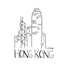 Stadt Sketch HONG KONG Schwarzweiß Illustration von INKUdesign