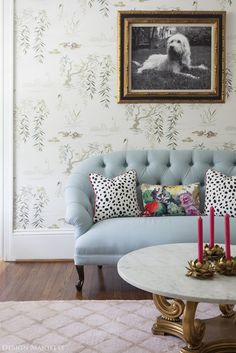 Living Room: Fresh Patterned Pillows - Home Upgrades Worth Every Penny: Smart Buys for Ever Room on HGTV Home Upgrades, Happiest Places To Live, Feminine Decor, Blue Couches, Dressing Room Design, Diy Décoration, Living Room Inspiration, Interior Inspiration, Home And Living
