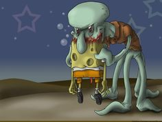 lol zombie spongebob and squidward. love this