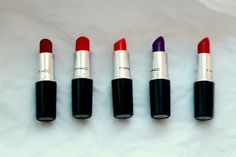 My MAC lipstick collection - the reds and a purple. So chaud, ruby woo, lady danger, heroine, morange.