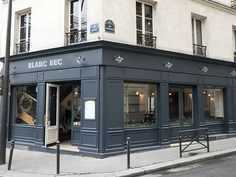 The indigo-colored façade of Bistrot Blanc Bec strikes a handsome pose on the corner of rue des Panoyaux and rue Victor Letalle in the 20th arrondissement. http://www.parisinsights.com/restaurants.php