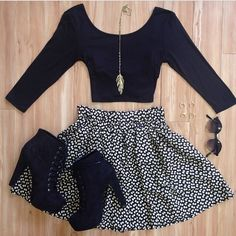 Crop top + skater skirt + heeled booties + sunnies