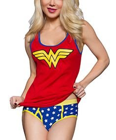 Look at this Wonder Woman Ribbed Tank & Briefs - Women on #zulily today!