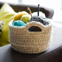 "Make this beautiful chunky crocheted basket to hold items around the house.  Free pattern via ""Crochet in Color""."