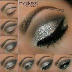 Sparkly silver eye makeup!