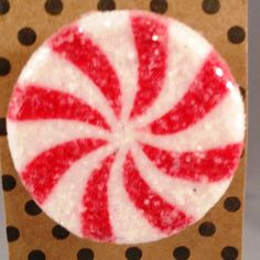 "Nostalgic Christmas Candy Pin's. Accent your jackets, scrafs, purses. Makes great Teacher, office and secert santa gifts!  It is finished with a coat of Sugar crystals.  Dimensions are 1 1/2"" with bar pin firmly glued to the back.   You will receive your Pin carefully packaged on a coordinating cardstock backing and nicely wrapped. Ready to enjoy yourself or for gift giving.   Thank you for shopping! by RockinRobinsBling, $2.00"