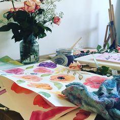 My workplace... #instaart #instaartist #workplace #creative #atelier #studio #paint #art #watercolor #artist #flower #beautiful #picoftheday