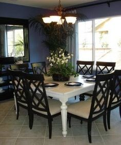 Blue Decorating  with Paint Interesting white table with darker chairs.