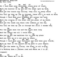 Phil Ochs song Automation Song- by Phil Ochs, lyrics and chords