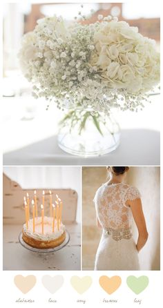 perfect wedding color palette - gold, white, champagne, peach, and mint. Maybe lavender instead of peach
