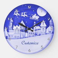Shop Merry Christmas Santa Winter Village Large Clock created by BlueRose_Design. Cheap Christmas Gifts, Merry Christmas Santa, Christmas Scenes, Christmas Villages, Christmas Items, Christmas Decorations, Hallmark Christmas, House Decorations, White Christmas