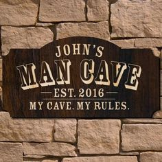 Man Cave Custom Wooden Sign (Signature Series) Immediately upon arrival to your man cave, greet guests with this eye-catching custom wooden sign. These personalized wooden signs feature the unmistakable mark of MAN CAVE and come custom engraved. Man Cave Garage, Man Cave Basement, Personalized Wooden Signs, Custom Wooden Signs, Custom Bar Signs, Woodworking Furniture Plans, Woodworking Projects That Sell, Kids Woodworking, Popular Woodworking
